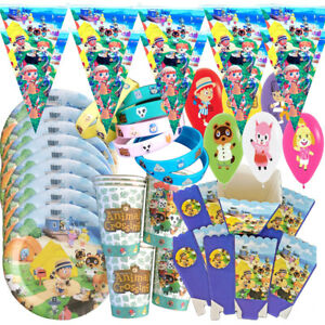 ANIMAL CROSSING BIRTHDAY PARTY BALLOON DECORATION SUPPLIES CUP PLATE CUPCAKE