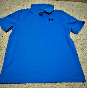 Under Armour Athletic Polo Shirt HeatGear Youth Boys Size L Blue Loose Fit VGUC $9.50