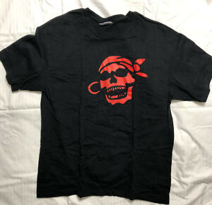 T Shirt Black Red Gypsy Pirate Skull Theme Large VGUC Skeleton