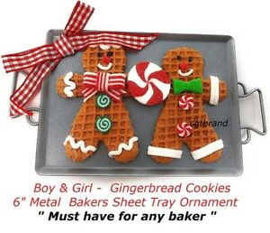 Boy Girl Gingerbread Cookies 6quot; Metal Bakers Sheet Ornament Must have for baker