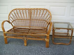 Rattan Franco Albini Inspired Design Love Seat & End Table 2 Piece Set Beautiful