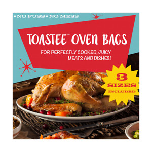 TOASTEE Oven Roasting Bags for Chicken, Turkey, Seafood, Vegetables, 3 Sizes
