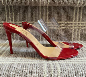 Christian Louboutin Just Nothing 85 Red Patent PVC Sandal Mule Heel Pump 37.5 🎁