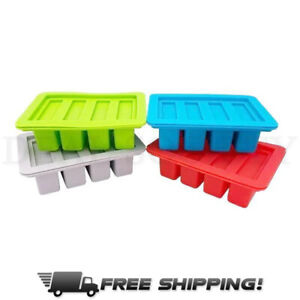 Heavy Duty Silicone Butter Mold Tray with Lid 4 Cavities Rectangle Container