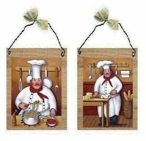 Chef Pictures Fat Cooks Pasta Bread Kitchen Decor Wall Hangings Plaques