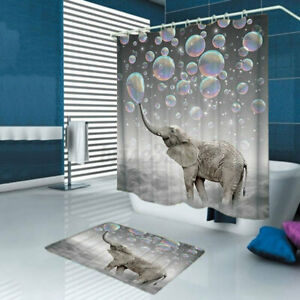 3D Printing Bubbles Elephant Waterproof Bathroom Shower Curtain Toilet Cover