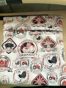 cotton Microwave Baked Potato Bag featuring roosters farm fresh beige black red