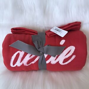 Aerie Throw Blanket 50x60 Limited Edition Holiday Red White Fleece NWT