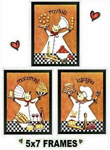 💗 5x7 Italian Chef Pictures Cooks Orange Kitchen Pasta Decor Wall Hangings