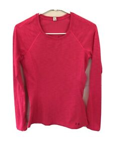 Under Armour Women's Long Sleeve Pink Running Athletic Training Shirt Small $13.99