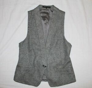 THEORY Virgin Wool Vest grey tuxedo tweed style sz 4 classic quality FREE SHIP