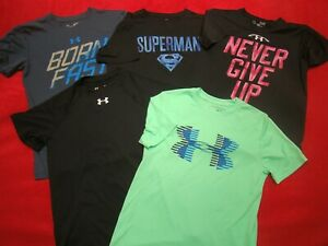 Lot 5 Under Armour Boys Loose Fit Heatgear Shirts SUPERMAN BORN FAST Size YSM