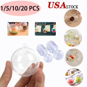Clear Plastic Ball Baubles Sphere Fillable Christmas Ornament Craft Gift Box Lot
