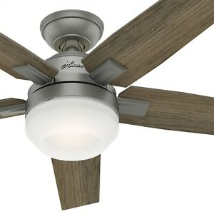 Hunter Fan 52 inch Contemporary Matte Silver Ceiling Fan with Light Kit amp; Remote $74.85