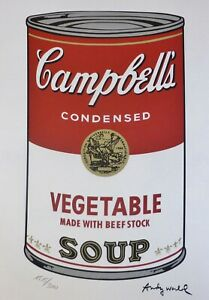 ANDY WARHOL CAMPBELL'S SOUP I VEGETABLE SIGNED + HAND NUMBERED LITHOGRAPH $198.00