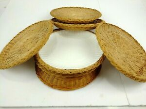 Vintage Paper Plate Holders Bamboo Wicker Rattan Picnic BBQ, 7 count 70's 80's