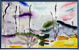 Vintage Original Modernist Molly Bronstein Abstract Watercolor Painting Signed $55.00