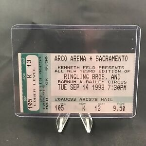 Ringling Brothers Barnum Bailey Circus Arco Arena Ticket Stub Vintage Sept 1993 $16.00