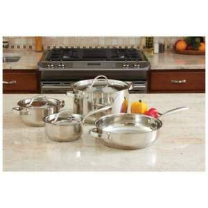 Ever Clad 7 Piece Heavy Duty Stainless Steel Cookware Set Stockpot Pan KT7