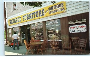 Navarre Furniture and Antique Reproductions Navarre Ohio OH Amish Postcard D14 $14.99