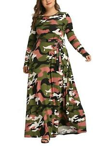 Women's Plus Size Camouflage Long Sleeve Casual Maxi Dress Spring Fashion