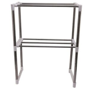 Stainless Steel Adjustable Multifunctional Microwave Oven Shelf Rack Stand G8I5