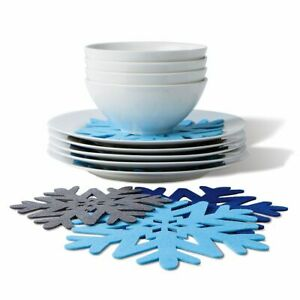 Snowflake Polyester Felt Pads Plate Protectors Set Kitchen Scratch Protection