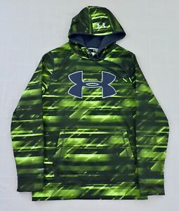 UNDER ARMOUR STORM1 Mens Small Neon Green Gray Print Big Logo Loose Hoodie EXC $23.39