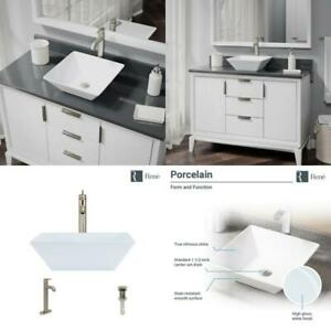 Porcelain Vessel Sink In White With 7001 Faucet And Pop-Up Drain In Brushed Nick  $225.99