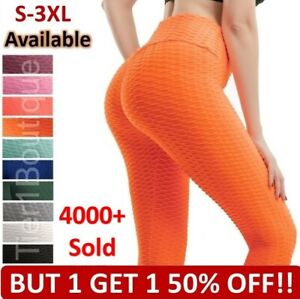 Women Push Up Leggings Yoga Pants Anti Cellulite Sports Ruched Fitness Gym