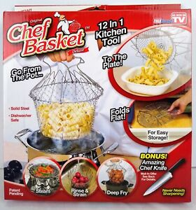 Original Chef Basket 12 in 1 Kitchen Tool, Steam, Rinse, Fry, Knife Not Included