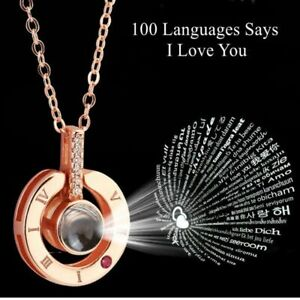 I LOVE YOU in 100 Languages Pendant Necklace Romantic Birthday Girlfriend Gifts
