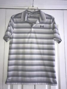 Under Armour Golf Boys Size Youth XL Gray Stripe Loose Fit Golf Shirt $22.88