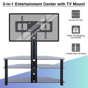 3-Tier TV Stand Mount Glass Cabinet for 32