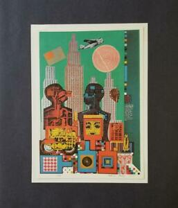 Eduardo Paolozzi quot;Wittgenstein in New Yorkquot; Mounted offset Lithograph 1973 $49.00