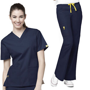 Origins Women#x27;s 6016 5 Pocket V Neck Scrub Top 5026 Flare Leg Scrub Pant Set