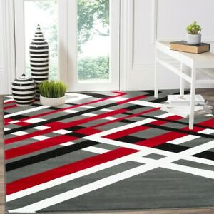 Area rug SmtN#113 Modern, premium quality red gray and black soft pile 5x7 8x11
