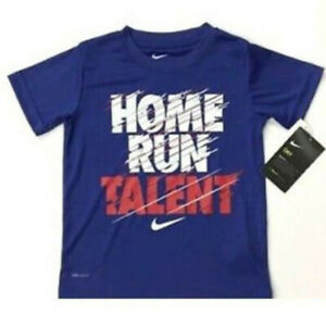New Nike Little Boys DRI FIT Graphic Print T Shirt Size 4 Blue $11.45