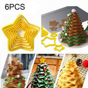 6Pcs Five pointed Star Fondant Cutter Cookie Pastry Biscuit Cake Decorating Mold $2.37