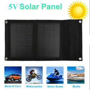 USB Solar Panel Folding Power Bank Outdoor Camping Hiking Battery Charger HT