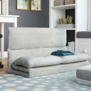 Foam Armless Loveseat Sofa Folding Couch Bed Living Room Furniture Modern Gray