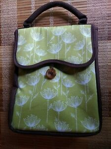 Fit & Fresh Insulated Lunch Bag Adult Tote w/ Magnetic Clasp Green Brown Canvas