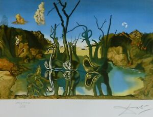 SALVADOR DALI SWANS REFLECTING ELEPHANTS HAND NUMBERED PLATE SIGNED LITHOGRAPH $248.00