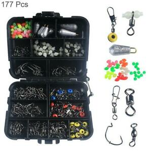Fishing Accessories Kit With Fishing Swivels Hooks Sinker Weights Tackle Box Set