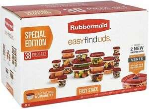 Rubbermaid Easy Find Vented Lids Food Storage Containers, Set of 38, Red