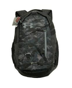 Under Armour UA HUSTLE 4.0 Storm™ Black Gray Camo Zip Backpack Book Bag $42.00