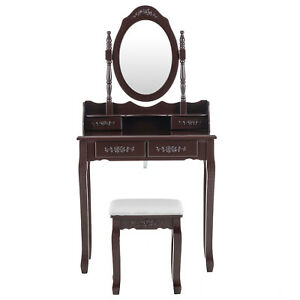 Vanity Makeup Dressing Table Desk Set w/Stool 4 Jewelry Drawer Mirror Wood Brown