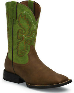 Justin Farm amp; Ranch Distressed Brown Wide Square Toe Western Boot JB1117 *