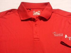 Under Armour Mens Large Short Sleeve Solid Red Athletic Polo Golf Shirt $15.00