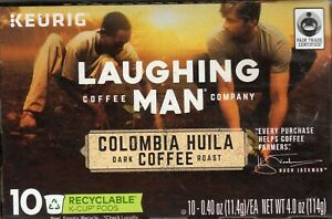 Laughing Man Coffee Single-Serve Keurig K-Cup Pods Colombia Huila Dark Roast